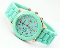 12pcs/lot original womens fashion style watch  silicone watch jelly watch 12 colors quartz watch for women men free shipping