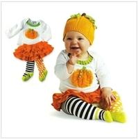 Spring/Autumn Children's Casual Sets /Halloween Pumpkin suit  Long-sleeved T-shirt + Kilt Free shipping