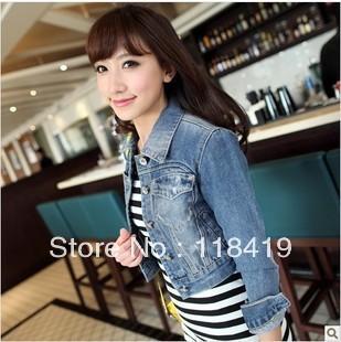 3969 New arrival Korea Fashion Korea Women's Ladies casual Light Blue lovely jean denim jacket Coat S/M/L Free shipping(China (Mainland))