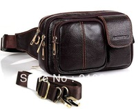 Genuine leather waist bags first layer of cowhide male casual shoulder bag high quality waist pouch