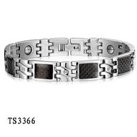Fashion New Men Jewelry CZ Stainless Steel Bracelet w. Black Carbon Fiber Highlights Magnetic Medical Magnets Bracelets Bangles