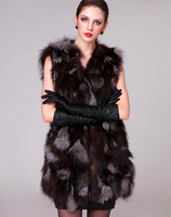 Женский жилет 2013 New Arrived Pure Silver Fox Fur Coat Silver Fox Fur Vest Ladies Vests Price
