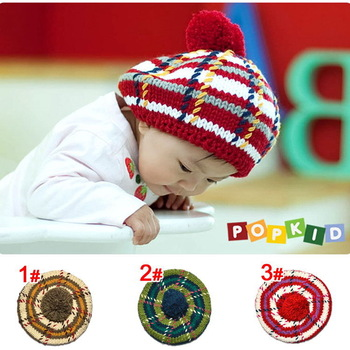 Free shipping New Handmade Baby Beret Cap Fashion Crochet Baby Caps Baby Knitted Caps Lovely Embroidery Baby Hats
