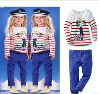 Spring/Autumn Children's Casual Sets /Girls, cute little beauty fish stripe  T-shirt + Pants Free shipping