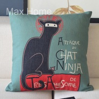 "Free Shipping 18"" Cat Ninja Green Retro Vintage Style Linen Decorative Pillow Case Pillow Cover Cushion Cover"