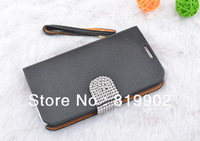 New Arrival Hot selling Luxury leather flip pouch wallet case cover for Galaxy Note 2 N7100 case with bling Rhinestone belt