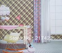 British Style Grid Fabric Textures PVC Vinyal Wallpaper Home Decoration