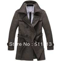 FREE SHIPPING fashion business wool double breasted slim thicken plus size trench coats