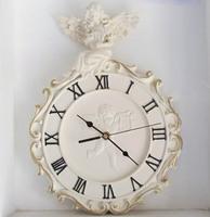 European Style Retro Resin Angel Clock Wall Clocks Hand Painted Roman Decorative Pattern Numbers Freeshipping
