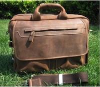 Top Quality  Mens VINTAGE GENUINE LEATHER MEN'S SHOULDER BAG BRIEFCASE LAPTOP BAG BROWN NEW C937# Genuine Leathen  Free Shipping