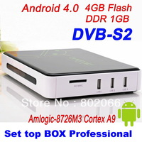 2013   Free Shipping DVB S2 receiver Android 4.0 TV BOX Google  IPTV reciever hd satellite receiver  WiFi HD 1080P ARM Cortex A9