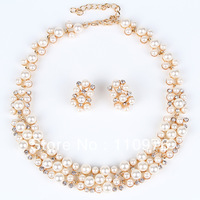SN1262403 Classic Imitation Pearl Jewelry Sets Gold Plated Elegant Wedding Jewelry Sets Party Gifts