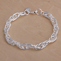Oval link bracelet men  in sterling silver 925 plated, free shipping (min-order $10) / CLB064