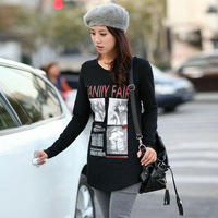 wholesale 2013 spring plus size clothing summer mm loose autumn long-sleeve T-shirt basic shirt female 1201