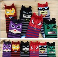 Wholesale Free shipping 100% Cotton socks Batman Spider-Man Stereo adults socks Three-dimensional Flap Women's Cartoon socks