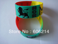 "Colour filled in BOB MARLEY Silicone kids fashion Wristband Bracelet, 1"" Wide band, 200pcs/lot, free shipping"