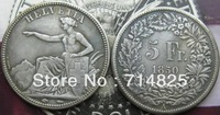 1850-A Switzerland 5 Francs COIN COPY FREE SHIPPING