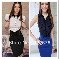 2013 New Fashion OL Style Bowknot Decorated Slim Work Pencil Skirt Black/Blue QM13052303 S M L XL