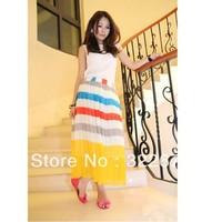 Fashionable Women's Beach Style Colorful Stripe Rainbow Double Ways Wear Pleated Chiffon Dress Yellow WD12091901
