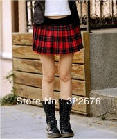 2013 New Preppy Style Women's Free Shipping Classic Style At All Seasons Suitable Pleated Plaid Check Skirt Red CQ10121905