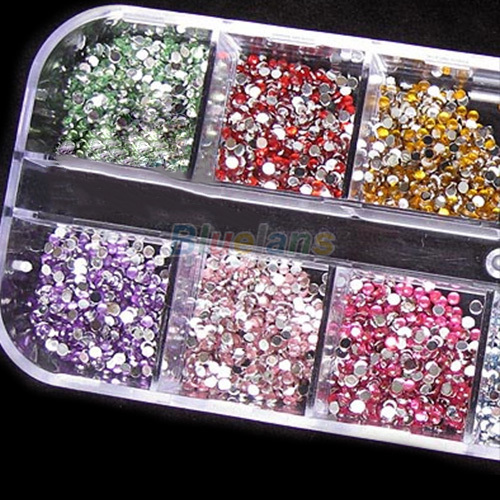 3000pcs 2mm Round Rhinestones 12 Colors Hard Case Nail Art Tips Decoration Created Gemstones Acrylic UV Gel 06CN(China (Mainland))