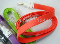 Brand new Free shipping High quality Candy Color Audio 3.5mm Noodle AUX Cable for Samsung blackberry HTC candy color hot sale