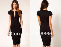 New V-Neck Fashion Work Sliming Knee-Length Pocket Party elebrity Pencil dress black