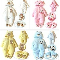 Free shipping,2014 New style baby rompers Cartoon boy girls thick jumpsuit Warm Winter infant garment Wholesale and Retail CR015