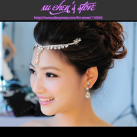 FREE SHIPPING silver color rhinestone flower shape tassel bridal frontlet show wedding hair jewelry hairwear