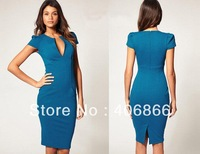 New V-Neck Fashion Work Sliming Knee-Length Pocket Party elebrity Pencil dress blue