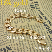 Wholesale - 1pcs/lot Men's Jewelry 18k gold plated yellow bracelet chain bracelets link bracelet 28.8g 7.4inch /12mm T6