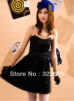 Free Shipping Charming Cute Grace Style Off Shoulder Sleeveless Cross Gauze Design Formal Dress Black/Red/White LH12041537