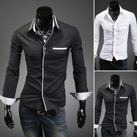 Mens shirts Long-sleeve Personality Pointed collar Casual Black White Slim Free shipping.2013 Summer M L XL XXL