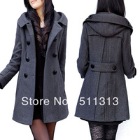 FREE SHIPPING plus size Max.6XL slim long thicken double-breasted hooded dignified and easy perfect quality wool coats