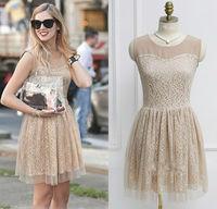 Free shipping Celebrity Style Womens Princess Sleeveless Lace Chiffon Skater Dress XS S M L XL