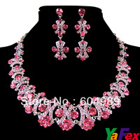 Free Shipping 2014 Crystal Rhinestone Wedding Bridesmaid Party Earring Necklace Bridal Jewelry Sets WA130-3#