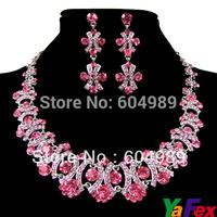 Free Shipping 2015 Crystal Rhinestone Wedding Bridesmaid Party Earring Necklace Bridal Pink Jewelry Sets WA130-3#