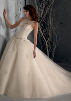 2013 new arrival summer train slit neckline lace vintage wedding dress