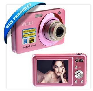 "Free shipping V600 2.7-inch TFT-LCD 1/2.3"" CMOS 15.0MP Digital Camera Camcorder with 5X Optical Zoom /TV-out /SD Slot (Pink)"