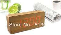 Free shipping LED digital clock creative alarm clock wooden clock wooden