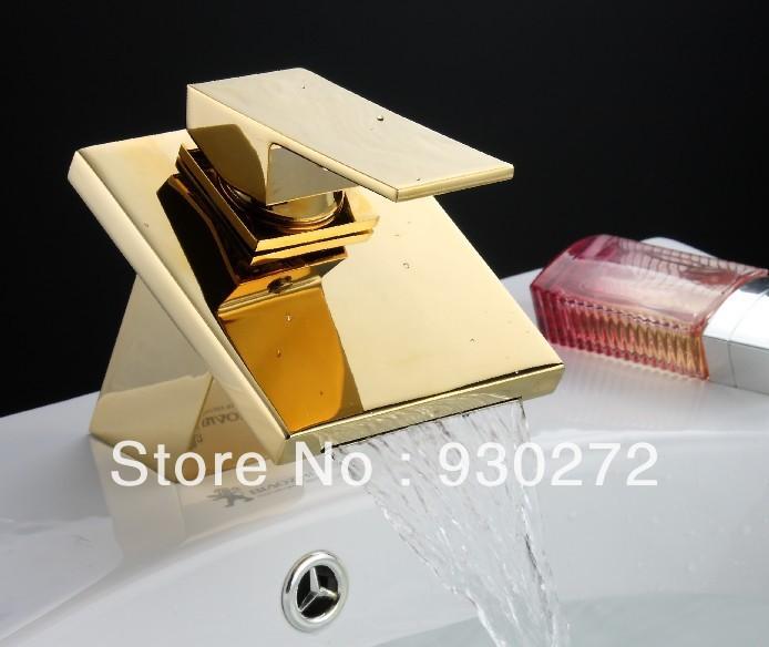 Mischbatterie Dusche Einstellen : Gold Waterfall Bathroom Sink Faucet