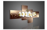 4 Piece Wall Art No Framed Modern Abstract Acrylic Flower Orchid Brown Oil Painting On Canvas Pop Bars Acrylic Artwork Picture