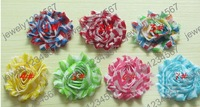 free shipping 30pcs 2.5inch Navy Shabby Chiffon Ruffles  Hair Flower no hairclip Gril's Hair Accessories Kids Headwear 7Color