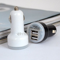 Free shipping  China post office 3pcs New Dual 2 Port USB Car Charger 12v DC for iPad iPhone 4G iPod 2A HTC