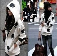 East Knitting AS-024 new Women casual loose wear hooded skull zipper sweatshirt skeleton coat top Outwear hoodie Free Shipping