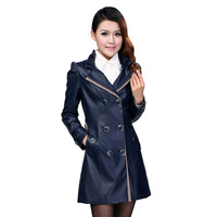 Free shipping/2013 New Arrival women's leather jacket Lady's coat slim trench jacket double-breasted big size coat XXXL-XXXXL