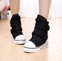 Free shipping 2013 high canvas shoes  velcro platform elevator platform casual shoes new brand women's sneakers