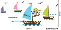 "Brand new EMS ""monkey ocean journey"" kids room wall Art Decal 50 piece/lot room sticker wall art mural"