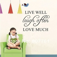 "10 piece/lot child Wall Decor Wall Art ""LIVE WELL LOVE MUCH"" Removable Wall Stickers Decals Kids Room Wall Stickers"