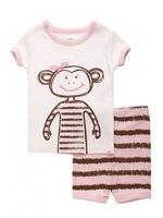 baby girl's summer monkey print tshirt striped pant 2pcs pyjamas kids cotton sleepwear children homewear 6 sets/lot